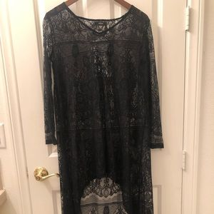 Black lace high low cover up